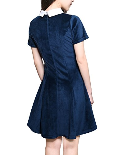 Allegra K Womens Halloween Contrast Doll Collar Short Sleeves Above Knee Flare Dress