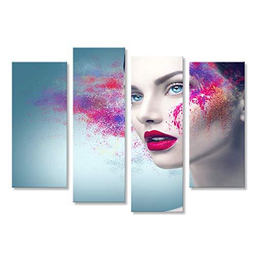 bilderfelix Bild auf Leinwand Mode-Modell-Mädchenportrait mit bunter Pudermake-up Wandbild, Poster,...