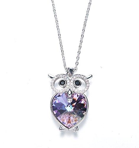 Frola – Flash viola gufo cuore amore ciondolo collana con Swarovski Elements cristallo, fashion Jewelry