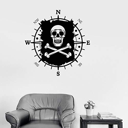 Bandera de calavera calcomanía de pared mapa pirata brújula náutica habitación de los niños jardín de infantes decoración de interiores vinilo ventana pegatina mural