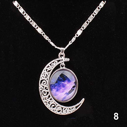 ERHETUS Women's Choker Necklaces,Galaxy Crescent Moon Glass Bead Pendant Necklace Crystal Jewelry Gifts for Women