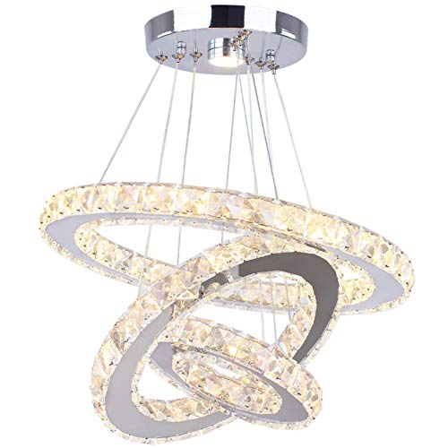 Dixun LED Chandeliers Modern Crystal 3 Rings Ceiling Lighting Fixture Adjustable Stainless Steel Pendant Light for Bedroom Living Room Dining Room(Warm White)