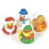 F&J Dozen (12) Christmas 2' Rubber Duckies - Party Favors Holiday Decor Stocking Stuffers - Snowman Santa Gingerbread Ducks Ducky