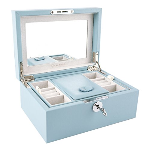 Vlando Retro Lockable Wooden Jewelry Box Organizer, Mirrored Jewelries Necklaces Earrings Rings Storage Holder Case with Key - Best Gifts for Women Girls, Air Blue