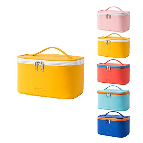 Swadal Neceser portátil de gran capacidad, neceser de maquillaje portátil para viaje, adecuado para dormitorio, tocador, viajes, color amarillo