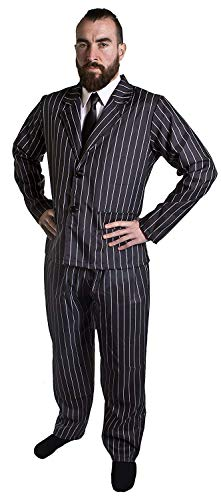 KOSTÜM FÜR Gangster DER 1920S Jahre FÜR Herren - Anzug Jacke MIT SCHWARZEN UND WEISSEN NADELSTREIFEN UND Hose + Schwarze Krawatte VON ILOVEFANCYDRESS® (XX-GROẞ)
