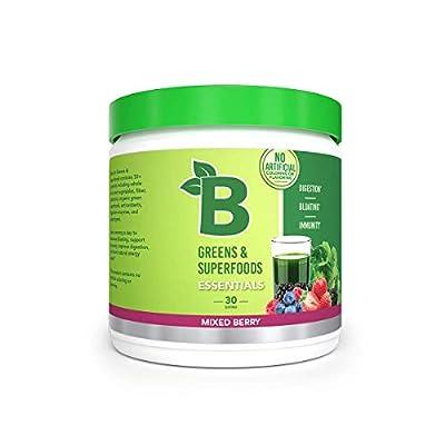 Bloom Nutrition Green Superfood | Best Tasting Greens Powder | Complete Whole Foods (Organic Spirulina, Chlorella, Wheat Grass), Probiotics, Digestive Enzymes, Antioxidants, & Adaptogens (Berry)