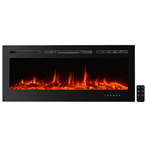 CharaVector Electric Fireplaces Recessed Wall Mounted Fireplace Insert 50 Inch Wide Heater LED Fire Place Remote Control & Touch Screen