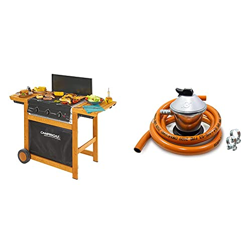 Campingaz Woody Adelaide 3 Barbacoa De Gas Con 3 Quemadores, 14 Kw, Fácil Sistema De Limpieza Instaclean + S&M 321771 Regulador De Gas Butano+ Tubo Goma 1,5 M + 2 Abraz, Gris/Naranja