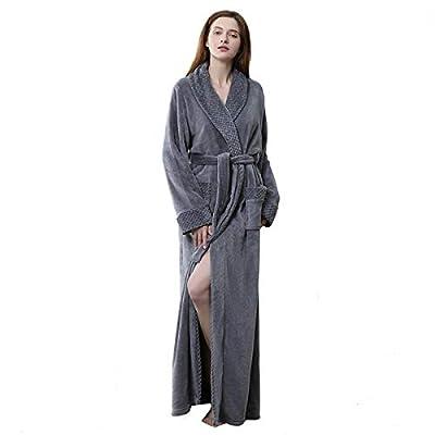 Long Bath Robe for Womens Plush Soft Fleece Bathrobes Ladies Warm Night Robes Dressing Gown Housecoat Sleepwear with Belt