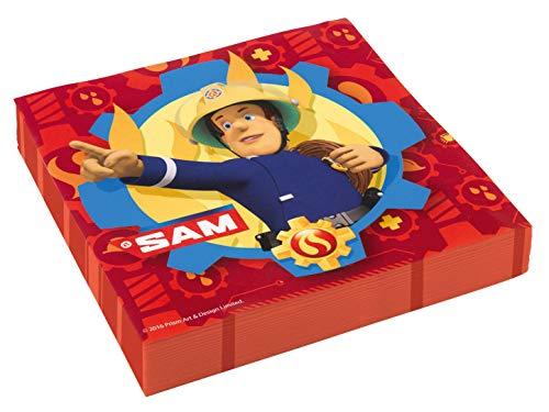 amscan 11012079 9902177 - Servietten Feuerwehrmann Sam, 20 Stück, 33 x 33 cm, Partygeschirr, Kindergeburtstag