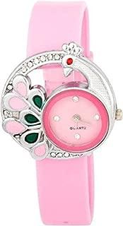 New Raiyaraj Embroidery analogue Peacock Pink Plastic Belt Watch for Girls-Women