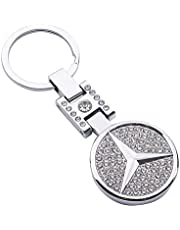 AutoDIY Car Logo Key Chain 3D Metal Emblem Pendant Double Side Zircon Crystal Decoration Lanyard Accessories