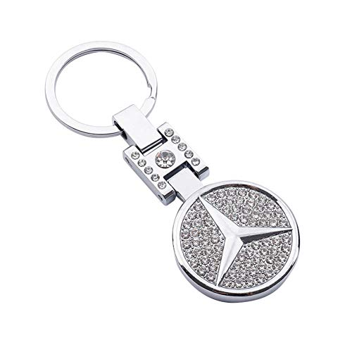 AutoDIY Autoschlüsselanhänger, Auto-Logo, 3D-Metall-Emblem, Anhänger, doppelseitig, Zirkon, Kristall, Dekoration, Schlüsselband, Zubehör für Geschenke (Benz) Silber AutoDIY-096