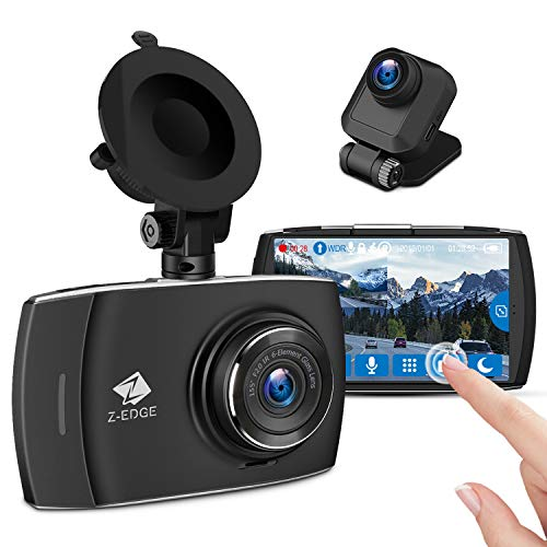 Z-Edge Car Dual Dash Cam, 4 inch Full HD Touchscreen, 1440P Front and 1080P Rear Camera Video Recorder, 155° Wide Angle Dual Lens, Loop Recording, G-sensor, Parking Monitor, WDR, 32G TF Card Included