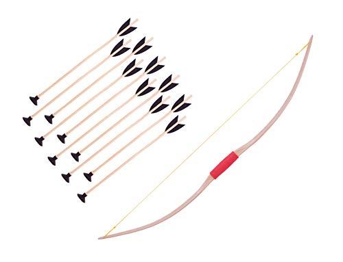 mankitoys Sportbogen 120cm aus Holz + 10 Pfeile mit Saugnapf 50cm Bogenschießen Kinder Bogen hohe Robustheit