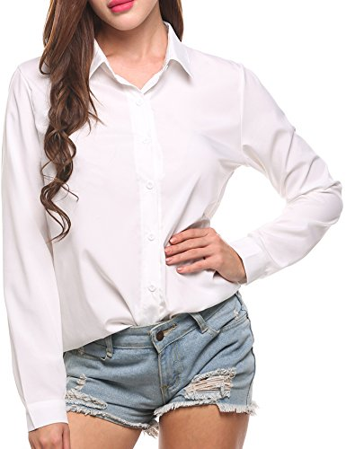 Zeagoo No Iron Shirt Women Button Down Blouse Office Collared Dress Shirt Roll Up Sleeve Chiffon Tops Casual Tee Shirt Fashion 2020, Solid White, Medium