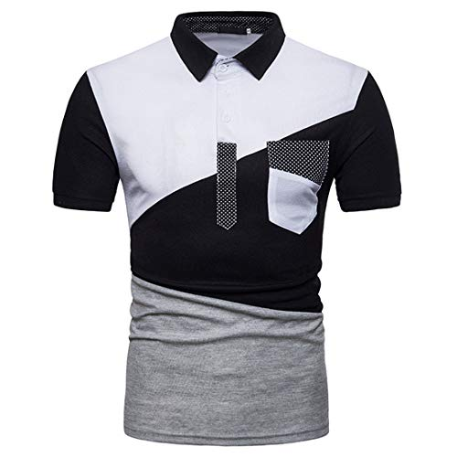 Polo Shirt Hombre Verano Básico Stretch Hombre Henley Camisa Color Contraste Empalme Hombre Manga Corta Casuales Camisa Negocios Casual Golf Deportiva Camisa O-Black4 XXL