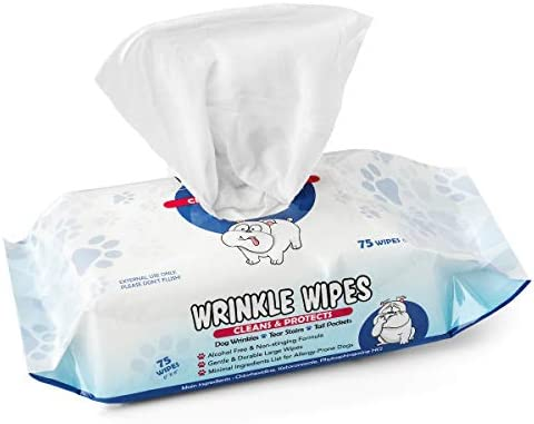 Squishface Wrinkle Wipes Large Wipes Anti Itch Cleans Wrinkles Tear Stains and Tail Pockets product image