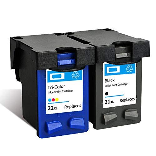 21 22 Cartucho de tinta, Reemplazo para HP Deskjet 3910 D2460 F2235 2180 2280 F370 OfficeJet 4315 J3680 Impresora de inyección de tinta Cartuchos de tinta Black y Tr Black+color