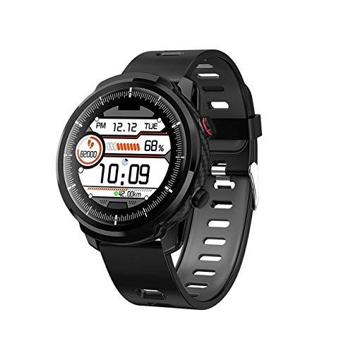 New Smart Watch Uomo Donna IP68 Impermeabile Smartwatch Chiamata SMS Orologio da polso Cardiofrequenzimetro Orologio per IOS, gomma nera