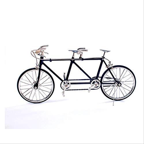 N\\A Metall Ornamente, DIY Montage Tandem Fahrrad Modell Kit, Heimtextilien Zubehör Basteln Für Kinder Geschenke 5.5 * 13 * 28cm schwarz