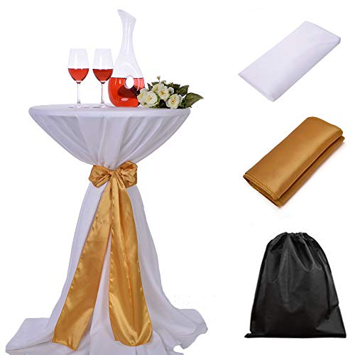 LOVWY 24 Inch (2 FT) Cocktail White Tablecloth + Golden Satin Sash Combination for Decoration of Wedding Engagement Club Bar Outdoor Party