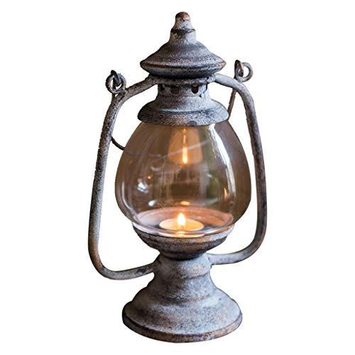 NYKK Portavelas Retro Nostálgico del Viento de la lámpara de la Serie de Velas, linternas de Antiguos Decorativos del Paisaje de Las linternas for Patio, Patio, jardín y decoración Camino (Color : A)