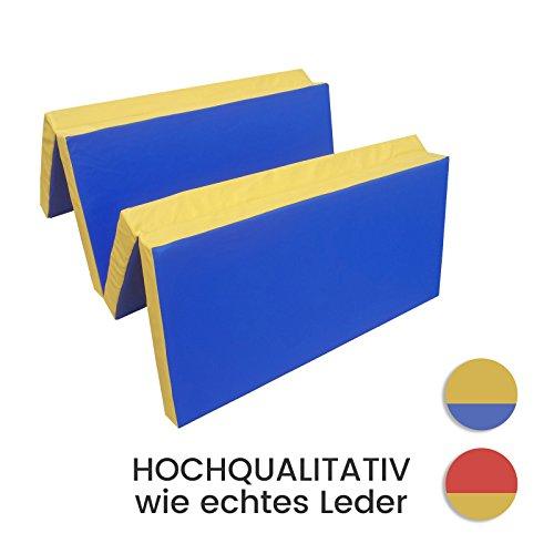 Niro Sportgeräte Turnmatte Weichbodenmatte Klappbar, Blau/Gelb, 200 x 100 x 8 cm