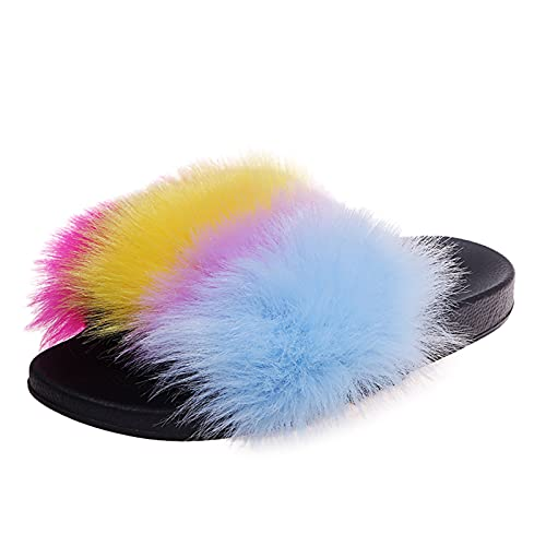 Open Toe Dressy Flat Sandals Leather with Colorful Fur Design Lightweight Soft Sole Indoor Outdoor Simple Beautiful Breathable Summer Pumps Shoes Women Low Heel Fire and Safety Shoes(Yellow 7.5)