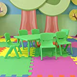 Flash Furniture 24''W x 48''L Rectangular Green Plastic Height Adjustable Activity Table Set with 6 Chairs