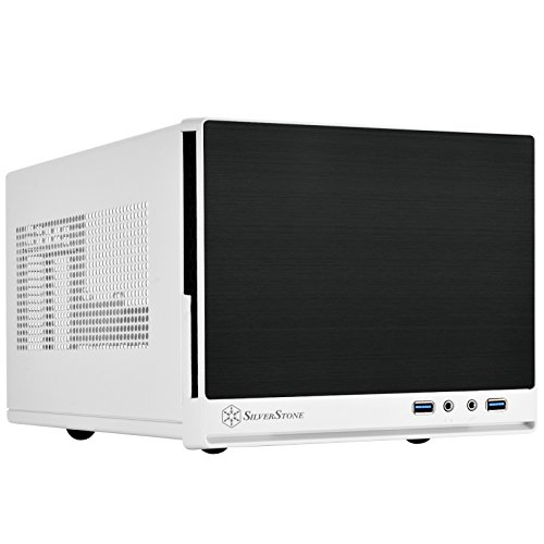 SilverStone SST-SG13WB-Q - Sugo Mini-ITX kompaktes Cube Gehäuse, Plastik-Frontblende mit Faux-Aluminium-Oberfläche, schwarz-weiss