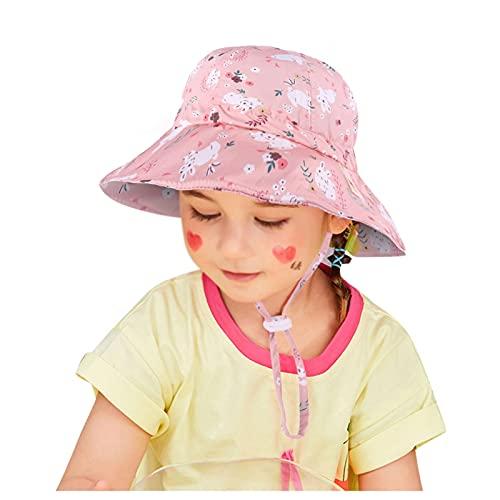 Bebé Sombrero Sombrero Niños Al Aire Libre Anti UV Protección Playa Caps Verano Muchacha Natación Sombreros para 0-8 Años,Rosado