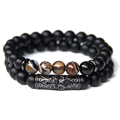 Conjunto de pulsera para hombre, joyería para hombre, 8 MM, piedra natural, oro, plata, color, microincrustaciones de circón, CZ, pulseras con cuentas de bola-7_21cm