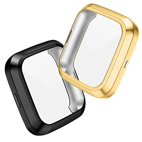 CAVN Hülle Kompatibel mit Fitbit Versa 2 Schutzhülle Schutzfolie [2-Stück], Flexibles TPU Vollschutz Bildschirm Schutz Schutzhülle Full Coverage Stoßfestes Bildschirmschutz Hülle für Versa 2 NUR