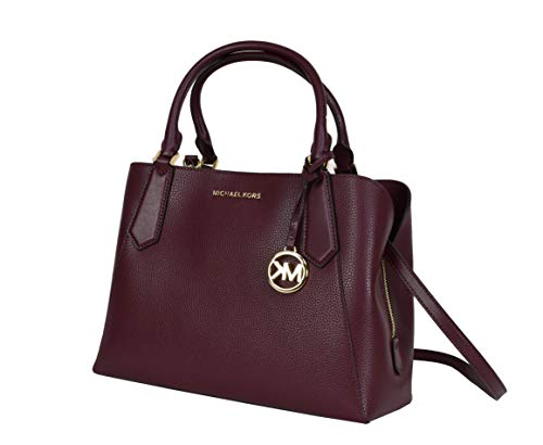 Meet the lovely Kimberly Large Satchel Crossbody Top Handle Signature Bag Merlot Pebble Leather and golden MK Fob. Kimberly is new favorite Top Handle Satchel or Crossbody Bag. Her sleek silhouette and functional inside tri pocket functionality makes...