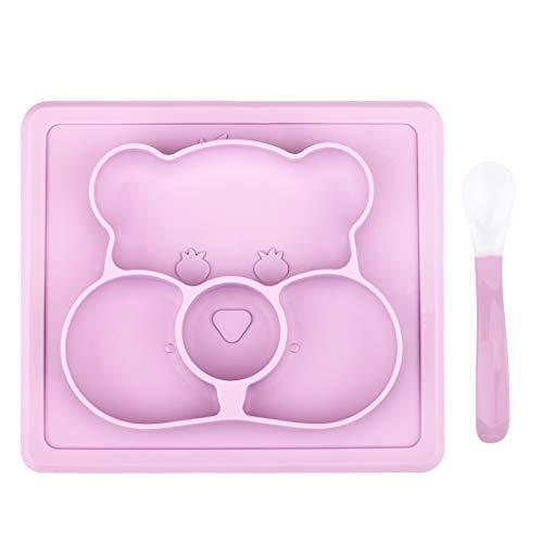 Baby Teller, ZABO Silikon Baby Tischset Rutschfester für Baby und Kinder, kinderteller passend für die meisten Hochstuhl-Tabletts