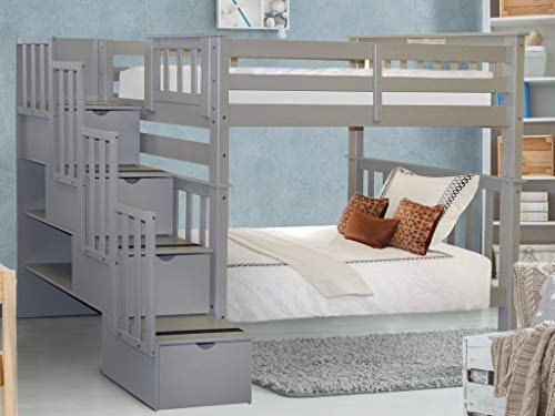 Bedz King Tall Stairway Bunk Beds Twin over Twin with 4 Drawers in the Steps, Gray
