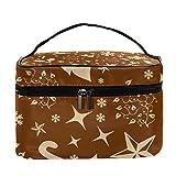 Bolsa de maquillaje de ciervos navideños con patrón de botella de nieve de viaje, bolsa de maquillaje grande, organizador de cosméticos con cremallera, para mujeres y niñas