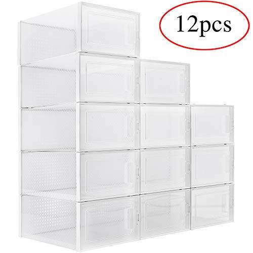 WAYTRIM Foldable Shoe Box, Stackable Clear Shoe Storage Box - Storage Bins Shoe Container Organizer, 12 Pack - White