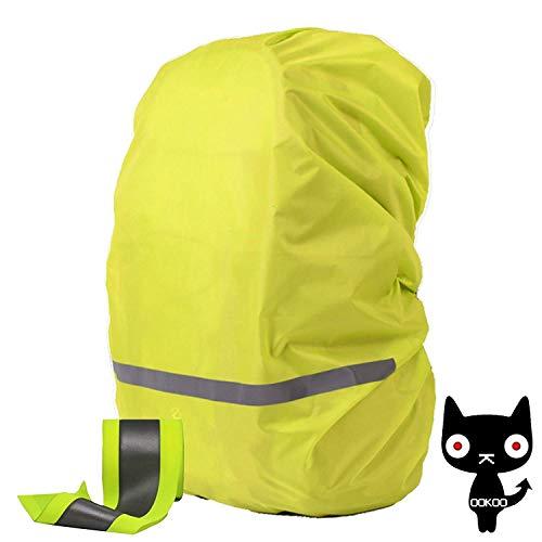 OOKOO Waterproof & Reflektierende Rucksack Cover Regenschutz, Regenmantel für Rucksack, Rucksack Regenjacke, XS Beutelabdeckung für (8L - 17L) Rucksack - Gruen - XS