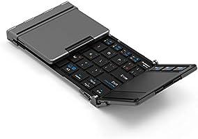 iClever キーボード 折り畳み Bluetooth usb タッチパッド 3つデバイス同時切替可能 スタンド ミニキーボード アルミ Windows Android iOS Mac 対応 IC-BK08