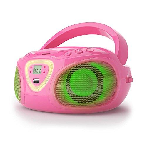 AUNA Roadie - Radio CD, Stereo, Boombox, Lettore CD, Porta USB, MP3, Radiotuner, Bluetooth 2.1 / EDR, Ingresso RCA da 3,5 mm/AUX, LED Funzionamento Rete e Batteria, Rosa