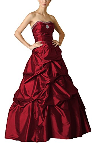 Romantic-Fashion Damen Ballkleid Abendkleid Brautkleid Lang Modell E469 A-Linie Perlen Pailletten DE Bordeauxrot Größe 50