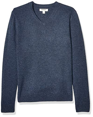 Amazon Brand - Goodthreads Men's Lambswool V-Neck Sweater, Denim Medium