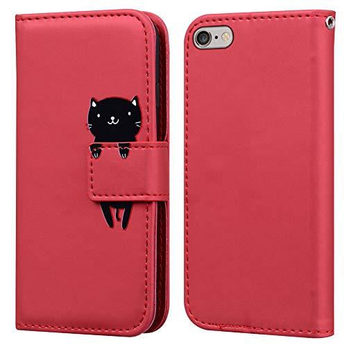 Ailisi Cover iPhone 6/6S, Red Flip Cover Cartoon Cute Cat Custodia Protettiva Caso Libro in Pelle PU con Portafoglio, Funzione Supporto, Chiusura Magnetica - Gatto, Rosso