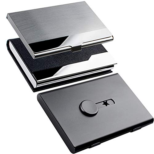 KISSWILL Business Card Holder Case, 3 Pack Different Style Card Holder Include Thumb-Drive Business Card Case and Leather Card Case with Magnetic Shut and Metal Name Card Case for Men & Women