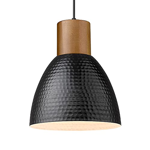 """ELYONA Modern Pendant Light Fixtures, Wood Hanging Lamp with 10.2"""" Hammered Metal Shade, Adjustable Height, Industrial Pendant Lighting for Kitchen Island, Dining Room, Bedroom, Coffee Bar - Black"""