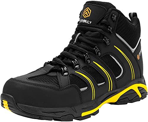 DKMILY DRY Scarpe Antinfortunistiche Uomo, Stivali S3 SRC WR Scarpe da Lavoro Anti Puntura Scarpe da Passeggio(Nero Giallo,42)