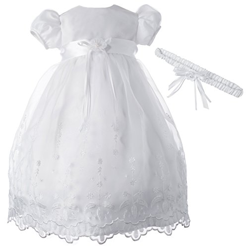 Lauren Madison Baby-Girls Newborn Satin Floral Embroidered Dress Gown Outfit, White, 0-3 Months